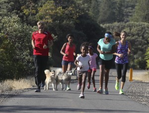 Family run on the Rail Trail